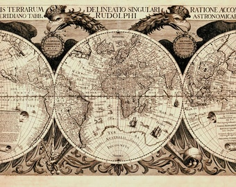 1630 Map of the WORLD, Earth, Historic Quality Print, Earope, America, Asia