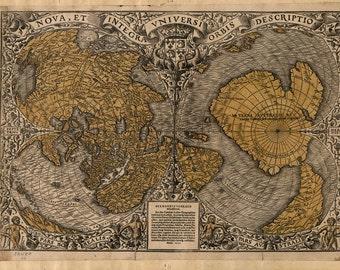 1531 World Map, EARTH, Historic Print, Quality, Orontius Fineus, Antique Deco