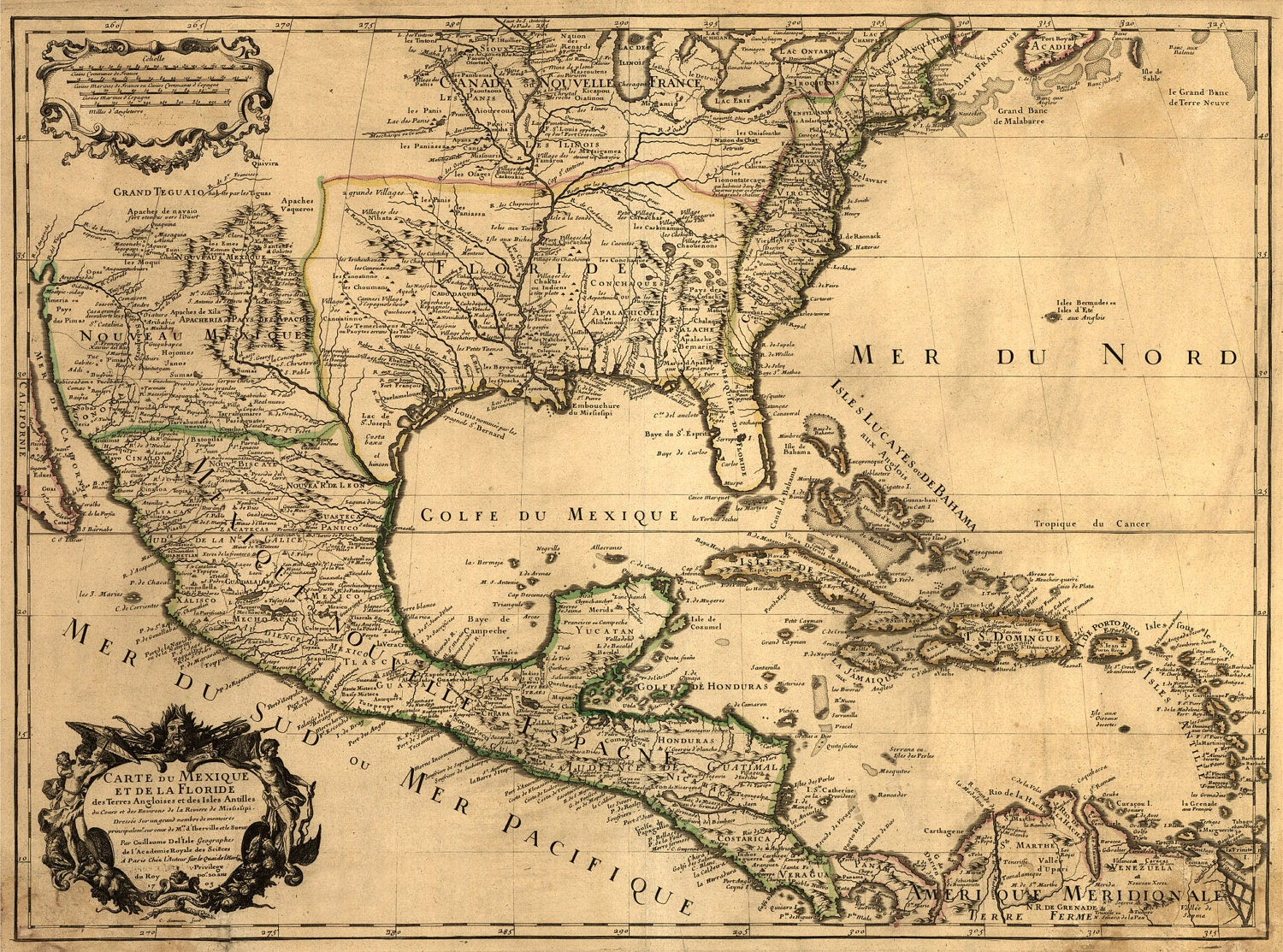 US MAP Nice Map Old America Mexico Gulf Unique - Map of us 1700