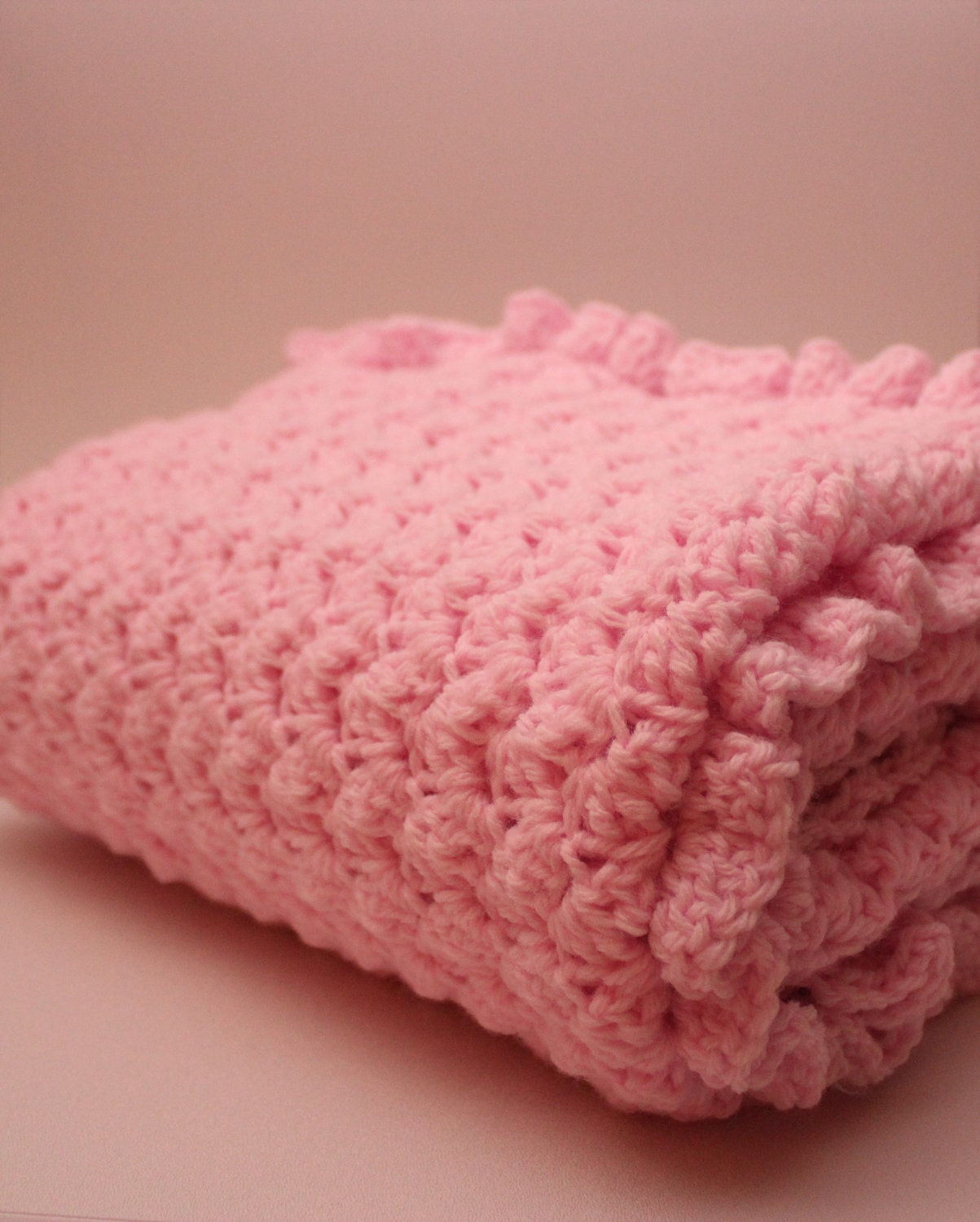 Free Crochet Pattern Ruffle Edging : Baby Blanket with Ruffle Edge Pink by AnnelieseandSerafina