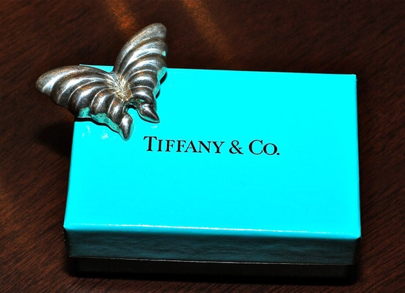 Vintage Tiffany and Co Sterling Silver Butterfly Pin with Tiffany Blue Box