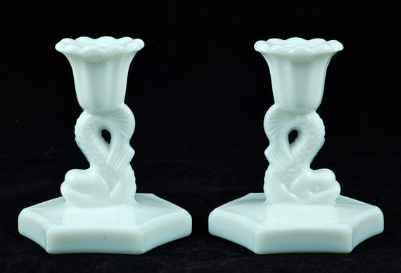 Vintage Westmoreland Milk Glass Dolphin Candle Holders