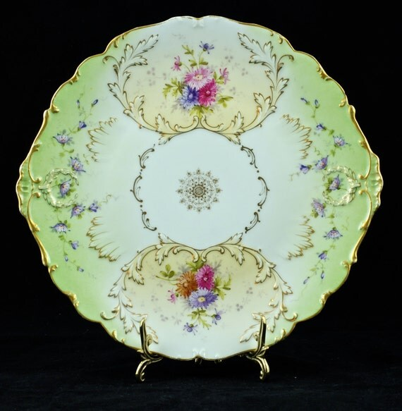 Antique Hand Painted Charles Ahrenfeldt Limoges Double Handled Cake Plate