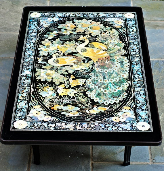 Vintage Asian Cocktail Table With Bird And Floral Motif