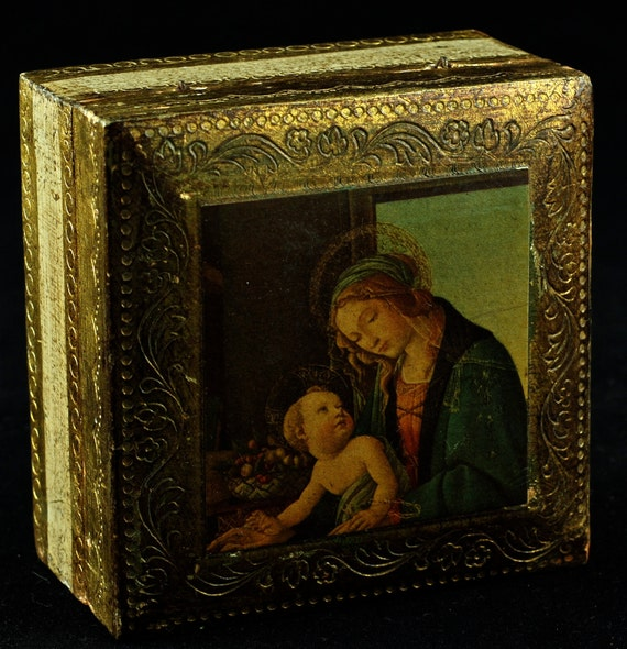 "Vintage Italian Florentia Hinged Lidded Box featuring Sandro Botticelli's ""Madonna of the Book"""