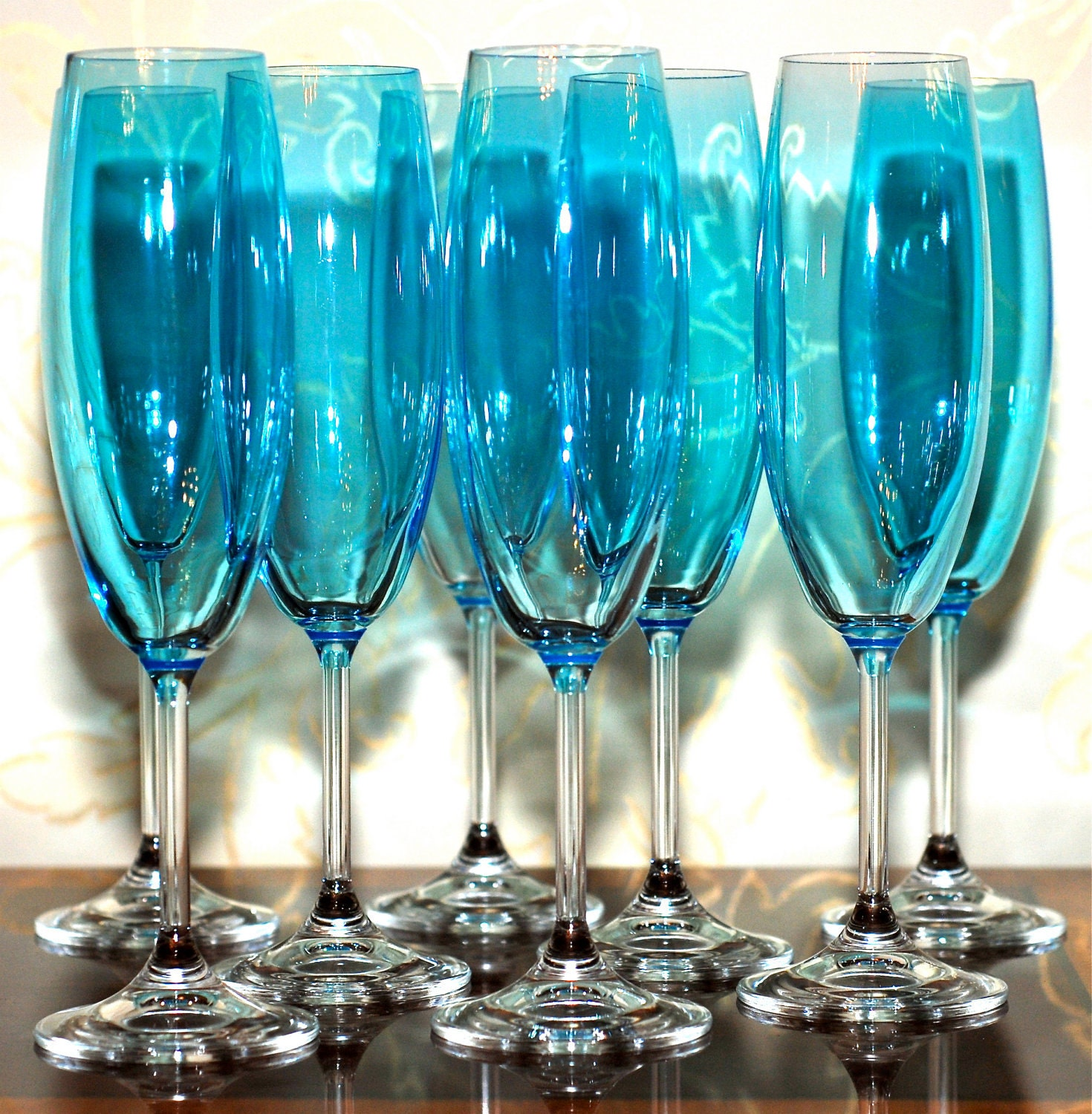 Hand Tinted Light Blue Champagne Flutes