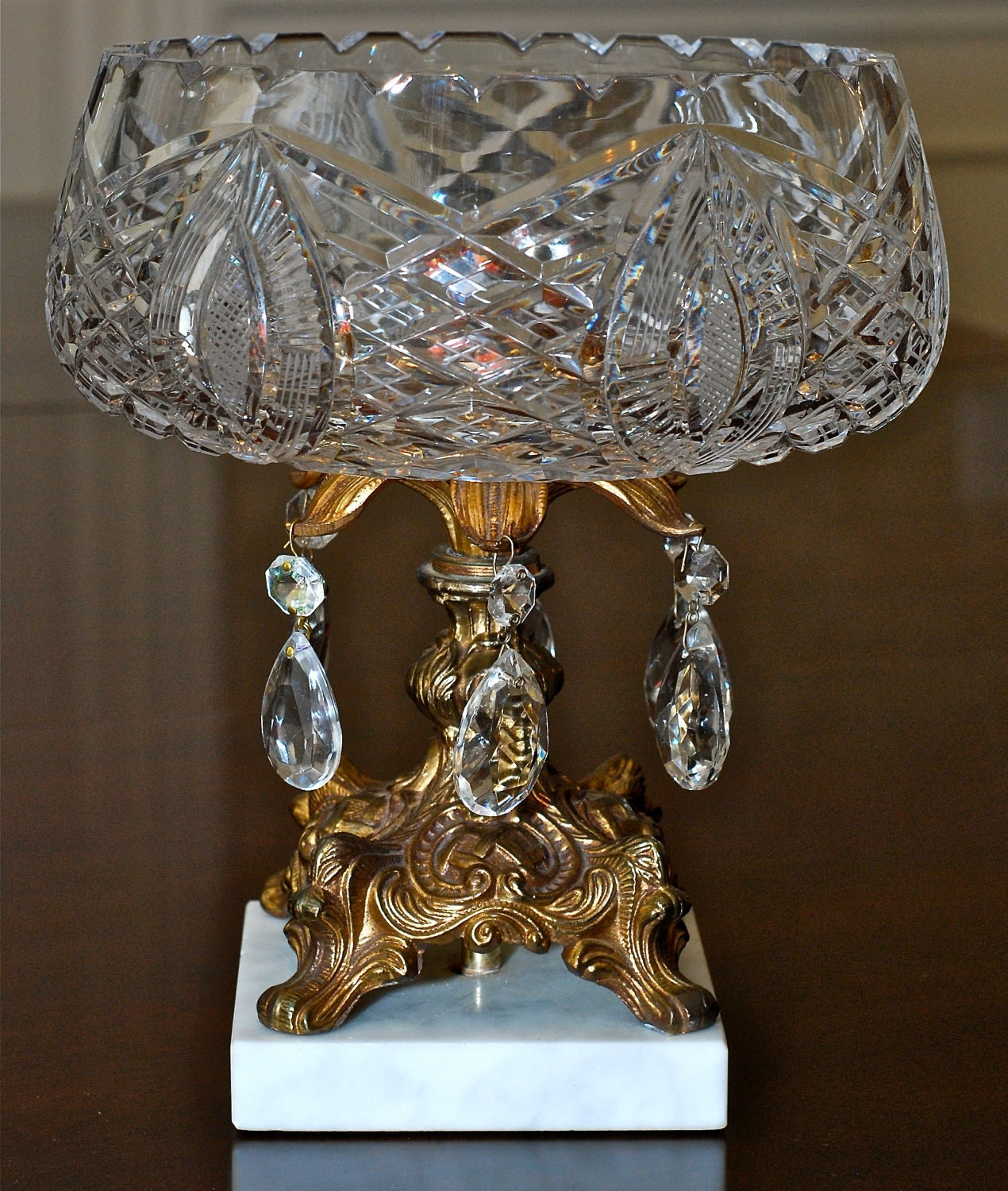 Vintage Cut Crystal Centerpiece Bowl With Brass Finished