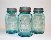 Trio of Blue Ball Jars