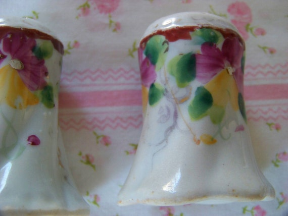 SALE-Antique Salt And Pepper Shakers With Hand-Painted Pansy Flowers