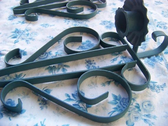 SALE-SET-Vintage Blue Metal Candle Holder / Wall Candle Holders / Vintage Blue Paint
