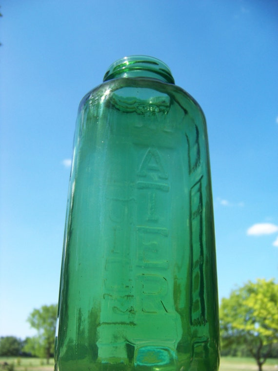 SET-Large Vintage Green Glass Jars / Antique Green Glass Jar / Glass Container