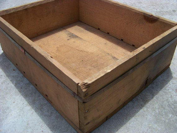 Vintage Rustic Wooden Crate / Industrial Storage / Wood Box With Metal Band