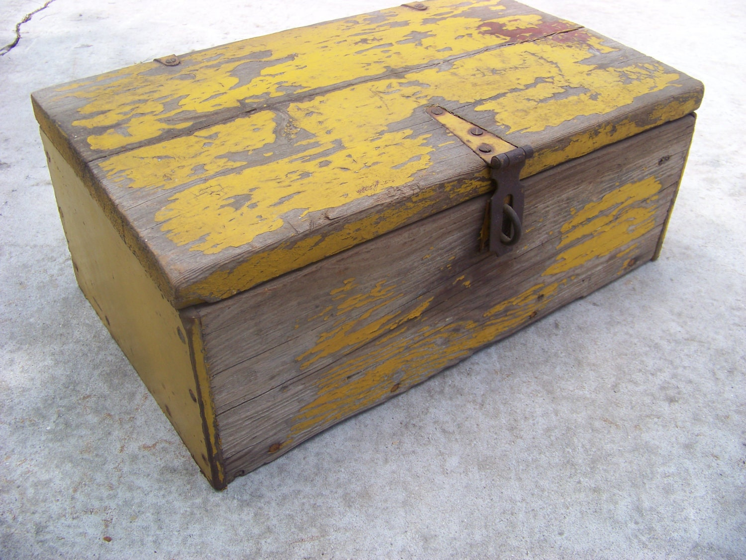 Old Wooden Trunk With Chippy Yellow Paint Antique Wooden