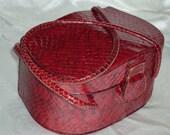 40s Burgundy Snakeskin Reptile Box Handbag