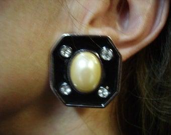 YSL Yves Saint Laurent Black Laquer & Rhinestones Clip-on Earrings