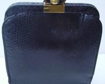 1940s Black Snakeskin Wristlet Handbag