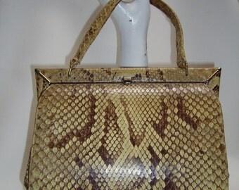 Vintage 50s60s NICHOLAS REICH Python Snakeskin Handbag
