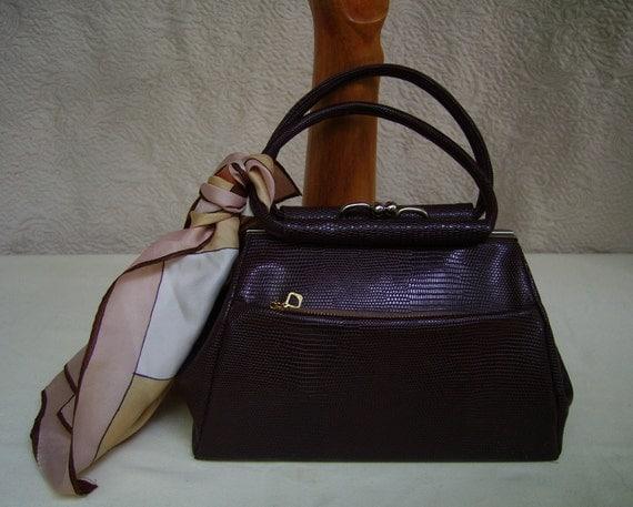 SALE 40s Lizard Embossed Brown Handbag