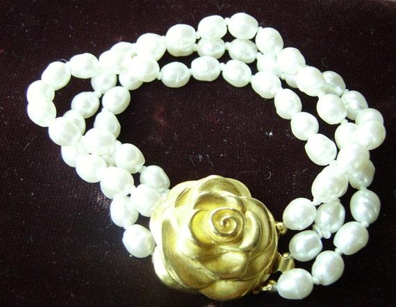 GIVENCHY Three Strand Pearl Bracelet