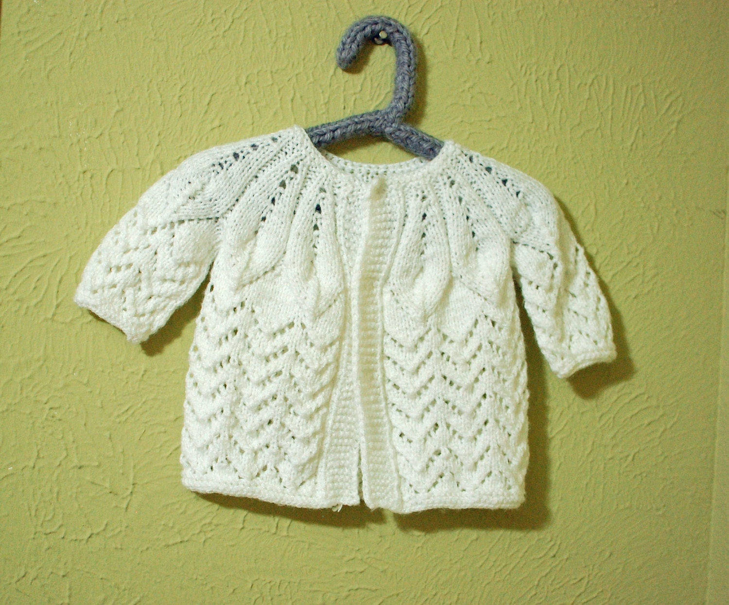Knit Leaf Pattern Baby Sweater : vintage lacy leaf knit baby sweater cardigan 3-6 months