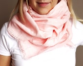 Summer linen scarf soft pink spring gift idea light fresh /hmet/rusteam / team madcap/etsy lush