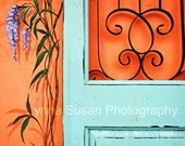 Blue Door, Orange Wall 5 X 7 Matted Print