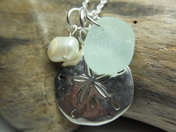 Sand Dollar and Beach Glass Necklace