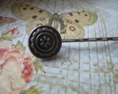 Vintage Silver Round Hair Pin Floral