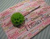 Bright Green Lime Resin Cabochon Flower Hair Pin