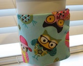 Bright Cute Owls Fabric Coffee and Tea Cozy Sleeve with Pink Button by Inoliviascloset
