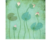 Water lillies print, Mother's day, wall decor, blue color, flower print, print of digital image