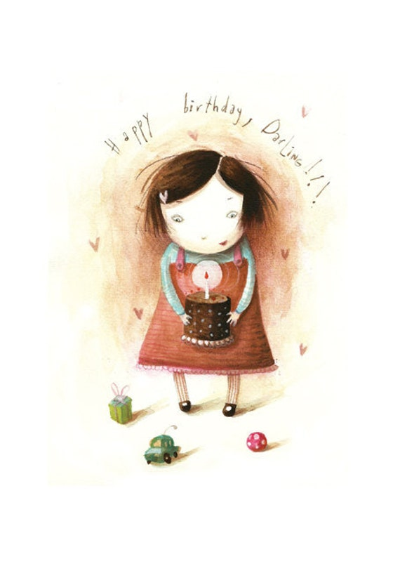 Happy birthday original watercolor-little girl kid nursery wall decor A4-RESERVED FOR ALINE