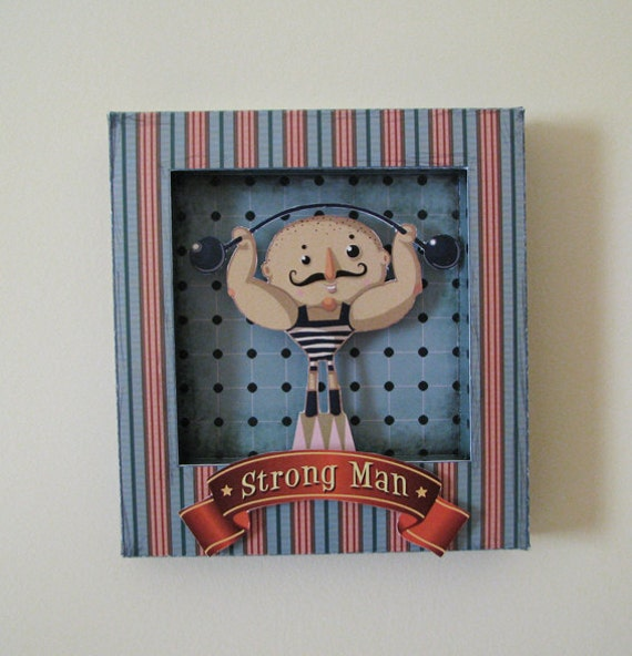 Collage paper shadow box, paper shadow box, circus, wall decor, kid nursery