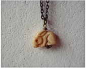 Spirit Rabbit Pendant Necklace // Hand Carved Natural Bone Bead on Antiqued Brass Chain