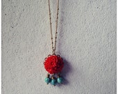 Persephone // Goddess Inspired Pendant Necklace in Pomegranate Red and Turquoise