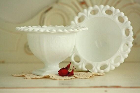 Vintage Milkglass Candy Dish Pair