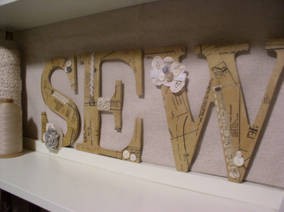 SEW Decoupaged Letters For Sewing Room Wall Decor