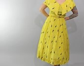1950s Vintage Dress...Spring Fashion Novelty Print Yellow and Black Silk Sun Dress with Birds Size Small