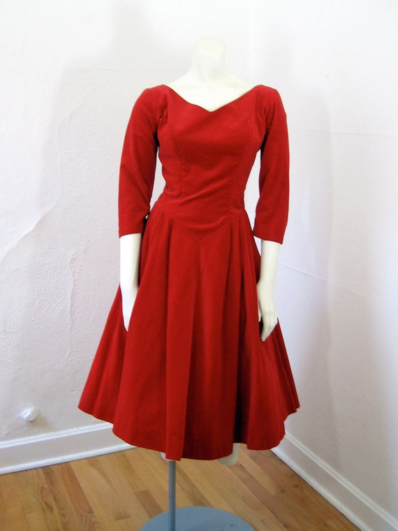 1950s Vintage Dress...BABY ITS COLD Valentines Day Red Velvet Party Dress Full Circle Skirt and Stiff Crinoline Underskirt Size Small