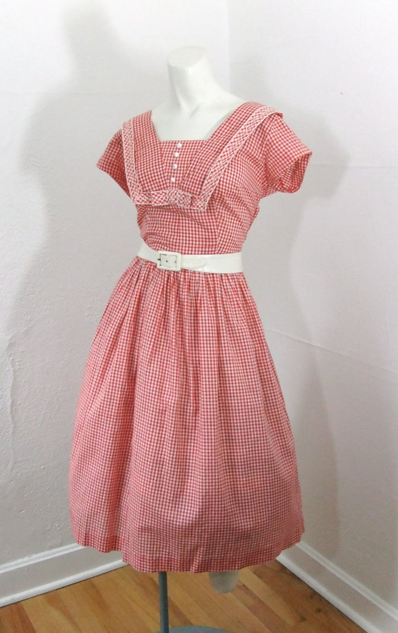 1950s Vintage Dress Hillbilly Fever Red And White Gingham