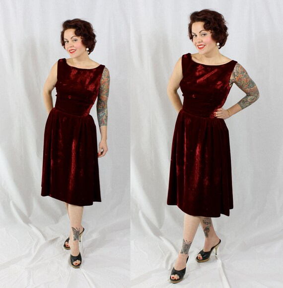 1950s Vintage Dress...DANCE WITH ME Rockabilly Red Burgundy Velvet Party Dress with Full Gathered Skirt Size Small