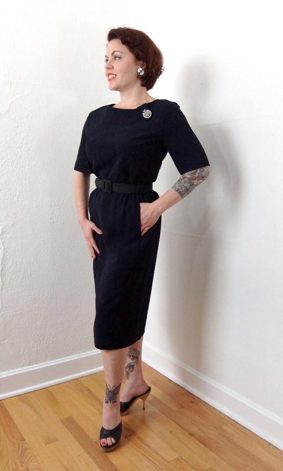 Sale /// 1950s Vintage Dress...HONEY HUSH Dark Navy Rayon Cocktail Dress with Rhinestone Brooch Gathered Waist Detailing and Pencil Skirt