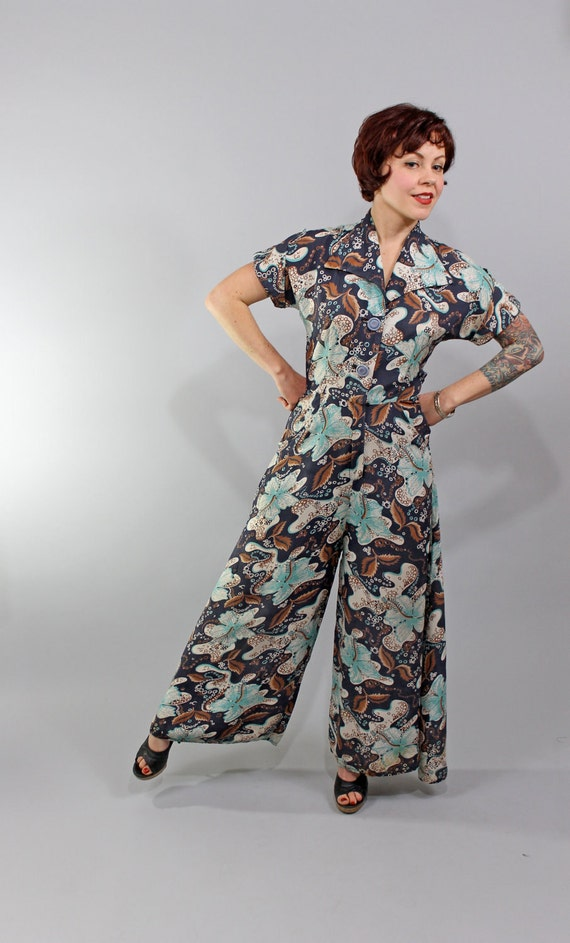 Reserved for saracoldstarea 1940s Vintage Jumpsuit...LOVE IS LOVELIER Floral Print Rayon Jumpsuit Loungewear Wide Palazzo Legs Size Medium