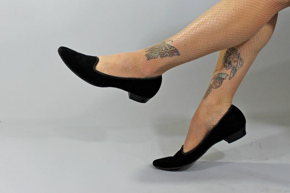 1950s Vintage Shoes...ALL NIGHT LONG Black Suede Flats Funsters by Naturalizer Size 10