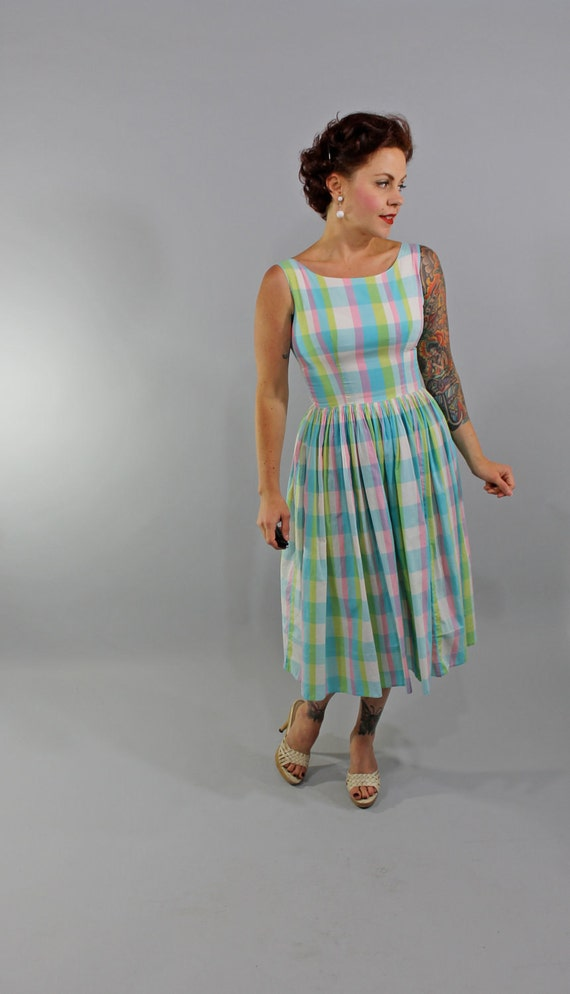1950s Vintage Dress...Summer Fashion Pastel Plaid Cotton Sleeveless Sundress with Full Skirt Size Small