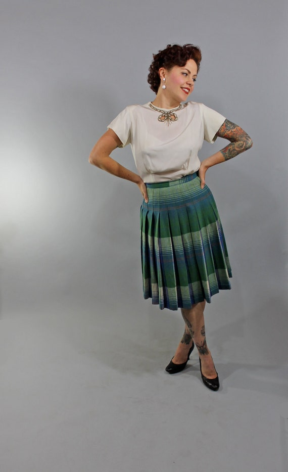 1950s Vintage Skirt...Fall Fashion Reversible Blue Green Plaid Pleated Skirt Size Small
