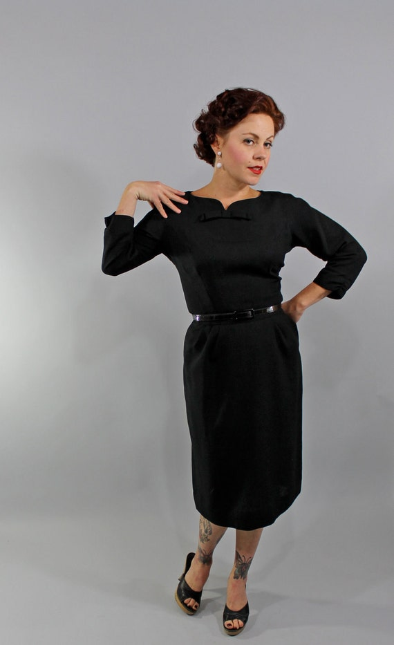 Reserved 1950s Vintage Dress...Classic Black Sheath Dress with Three Quarter Sleeves and Bow Detail Size Medium
