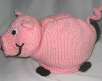 Pig Tea Cosy - KNITTING PATTERN - pdf file by automatic download