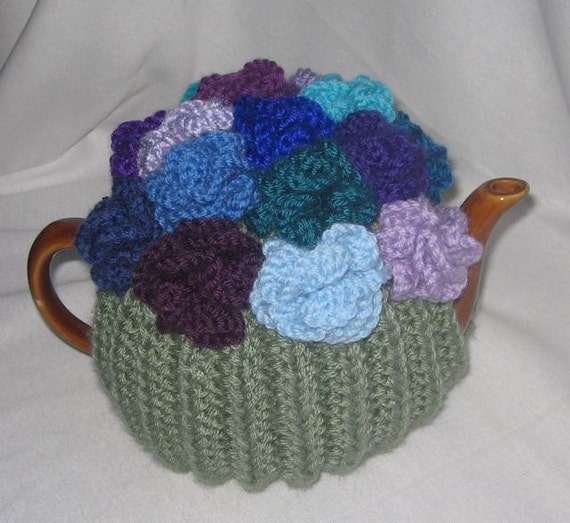 Knitted Chicken Tea Cosy Pattern : Coral Flower Tea Cosy KNITTING PATTERN pdf file by