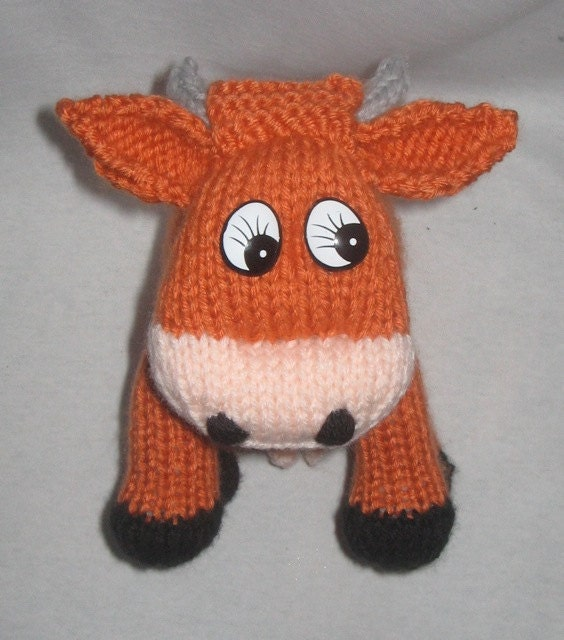 Knitting Pattern Cow Toy : Red Jersey Cow KNITTED TOY